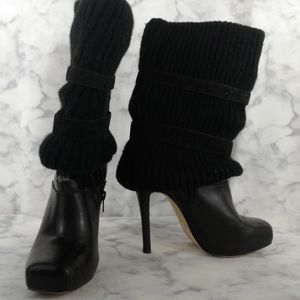 Bakers Black Leather & Sweater Cuff Boots Size 7.5